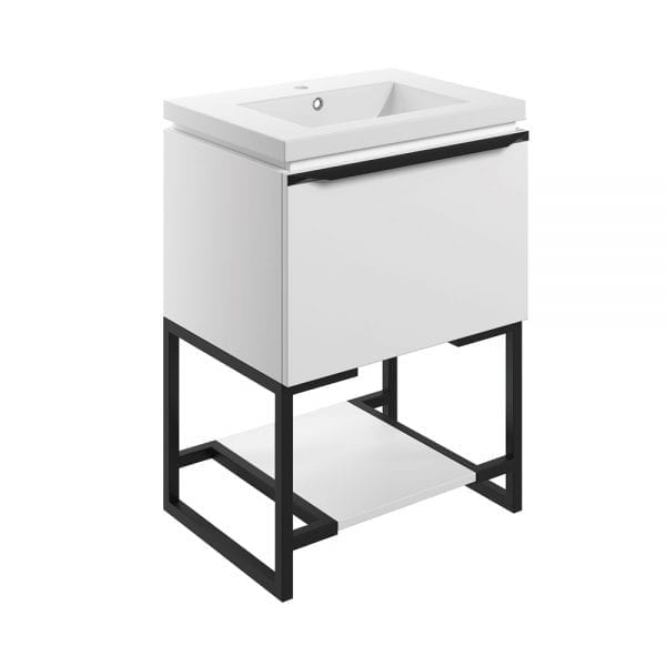 Frame freestanding bathroom vanity unit and sink 600 wide in matt white DIFTP2034