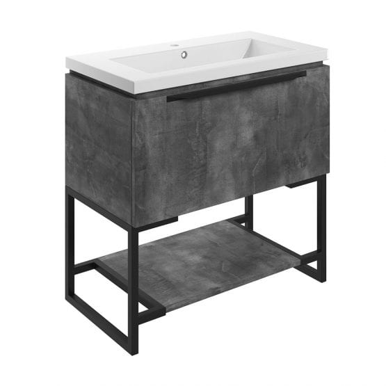 Frame freestanding bathroom vanity unit and sink 800 wide in grey metal finish DIFTP2036