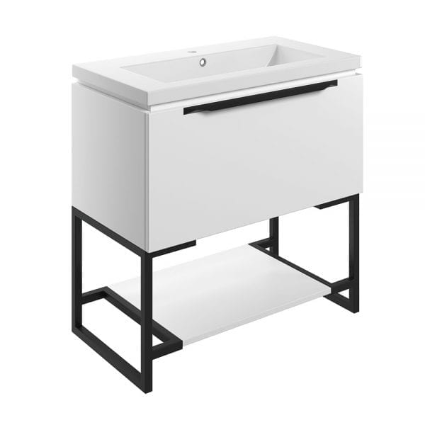 Frame freestanding bathroom vanity unit and sink 800 wide in matt white finish DIFTP2038