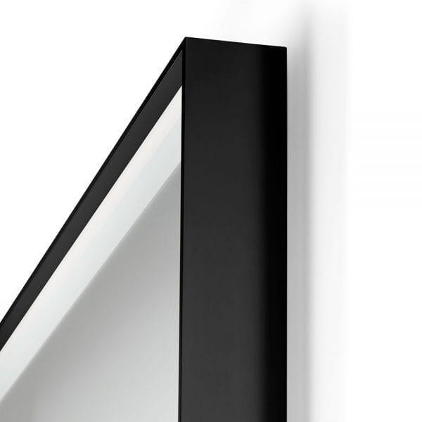 Black Lecco 600x800mm Backlit Mirror frame detail