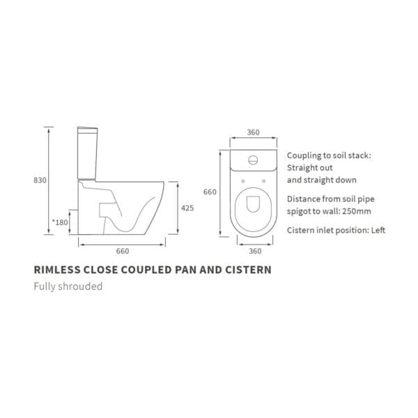 Cilantro Rimless C/C Fully Shrouded WC DIPTP0154 Technical Diagram