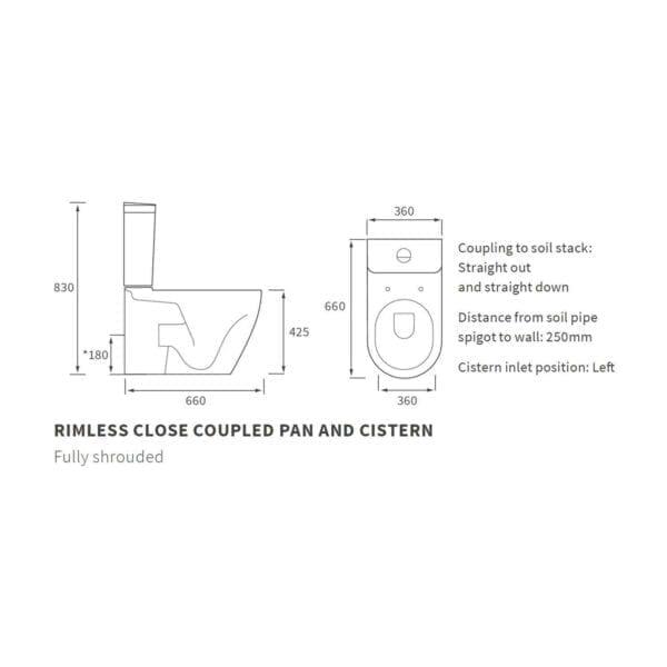 Cilantro Rimless C/C Fully Shrouded WC DIPTP0154 Technical Diagram