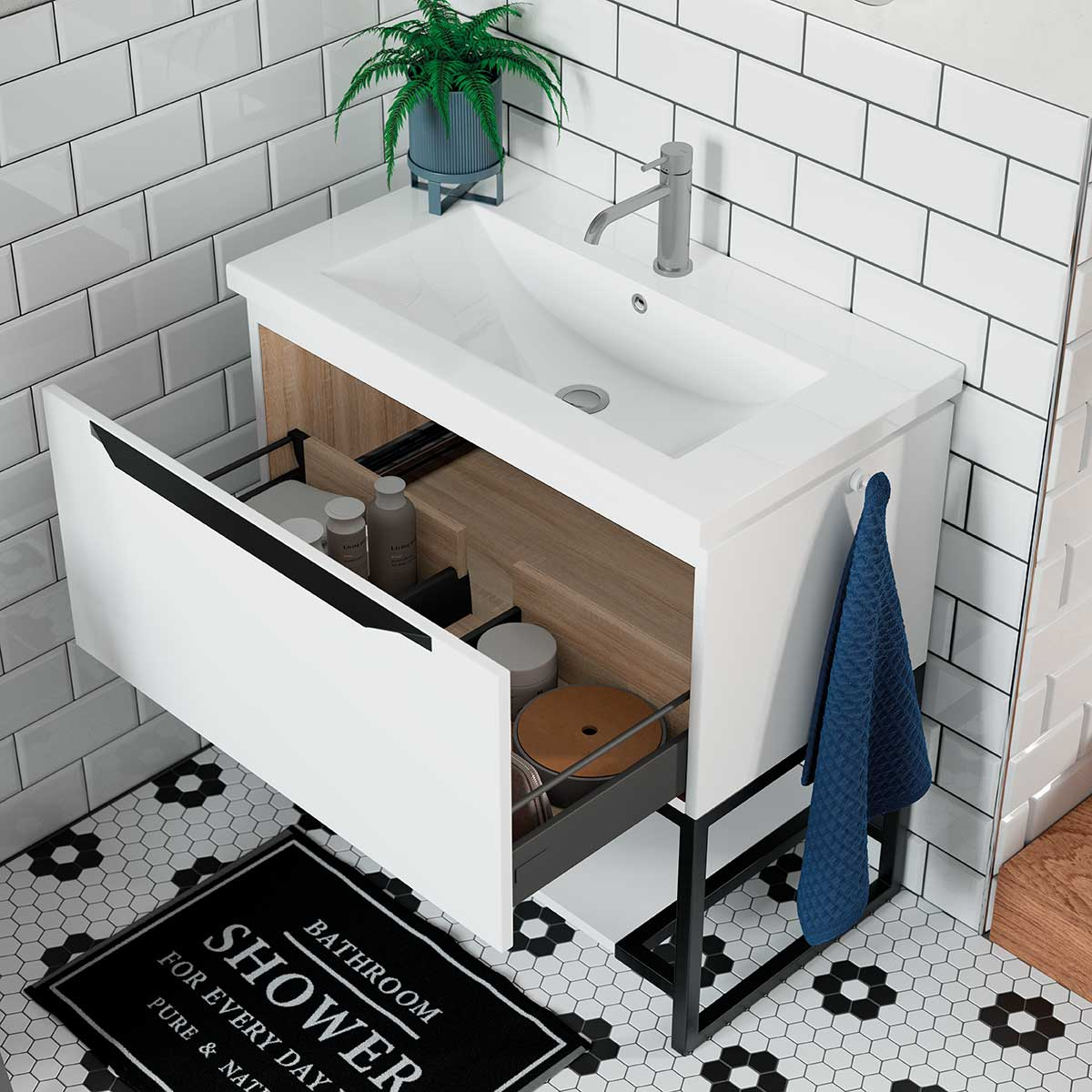Framework Grey Metal 600 Freestanding Vanity Unit Basin Room H2o