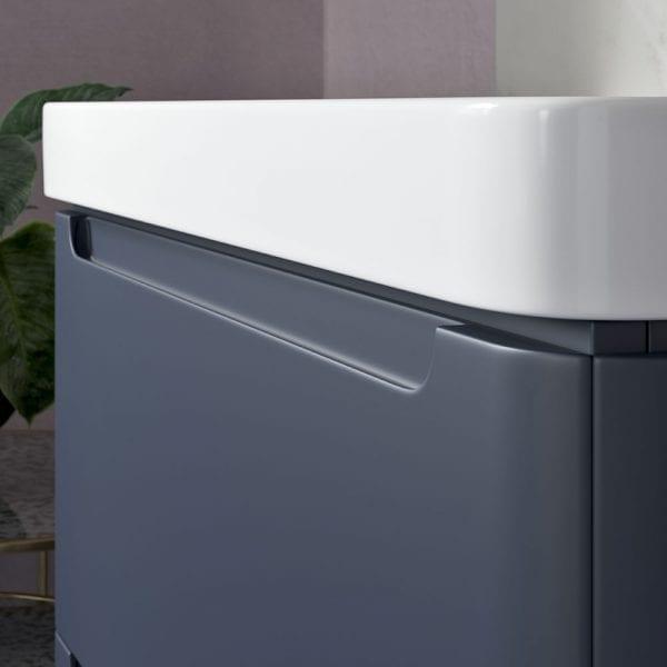 Lambra modern designer matt indigo vanity unit with sink