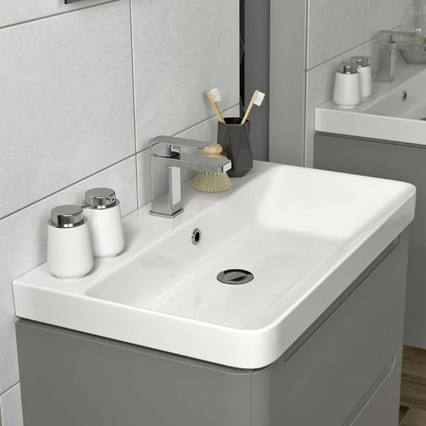 Lambra 500 wide modern designer matt grey vanity unit with sink