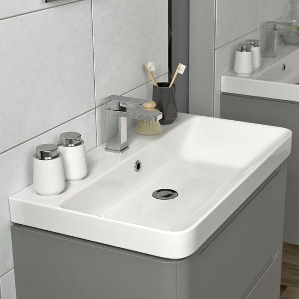 Lambra 500 wide modern designer matt grey vanity unit with sink