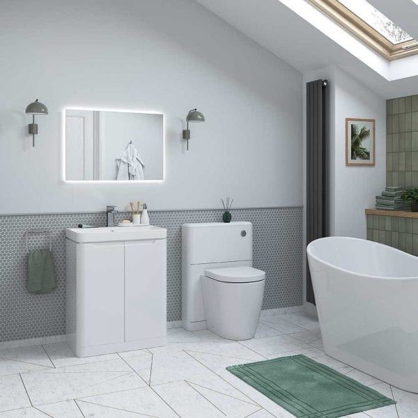 Lambra floorstanding vanity unit and basin in gloss white with soft close doors