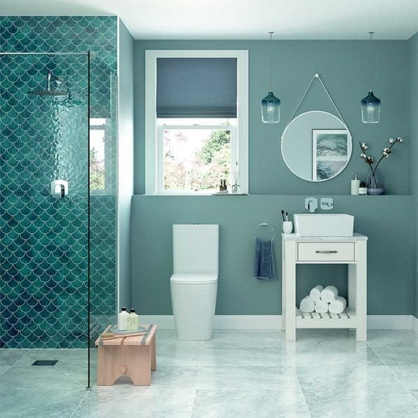 Modena 60cm white round hanging bathroom mirror in an contemporary style bathroom