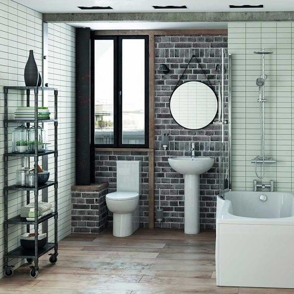 Modena 60cm black round hanging bathroom mirror in an industrial style bathroom