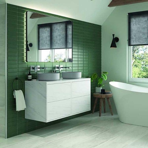 Rio 120x80cm illuminated bathroom mirror in a stylish modern bathroom