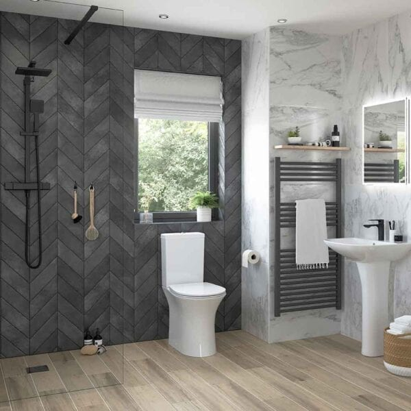 Modern bathroom feauring a Sandro Rimless C/C Open Back WC & Soft Close Seat