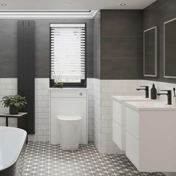 Aqado Black basin mixer tap in contemporary bathroom