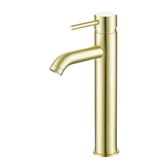 Pesca Tall Basin Mixer Tap in Brushed Brass