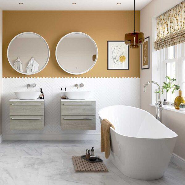 Freestanding Ashbourne bath tub in bright bathroom