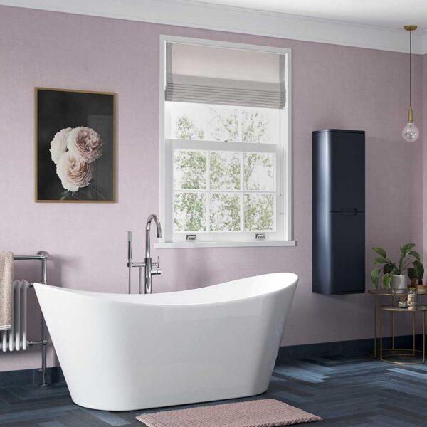 Freestanding Belmont bath tub in pink bathroom