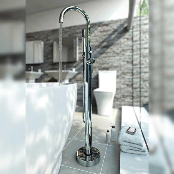Floor Standing Bath Shower Mixer in grey bathroom