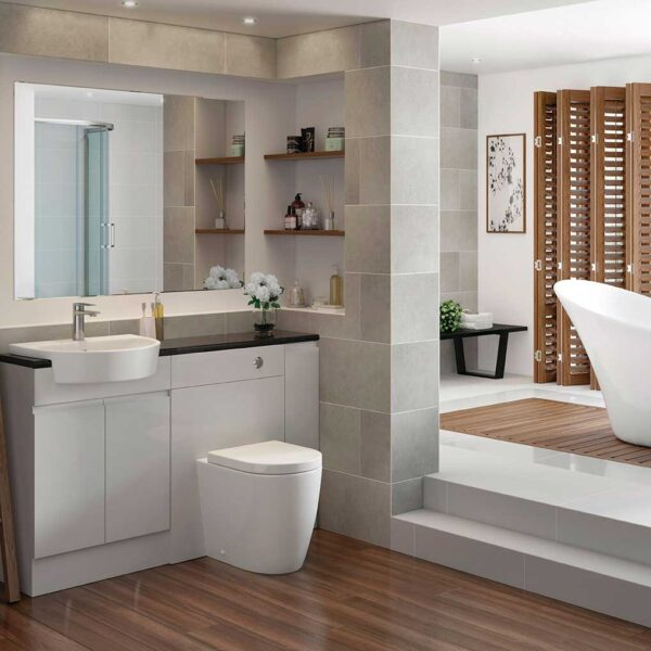 Cilantro rimless toilet pan in open bathroom