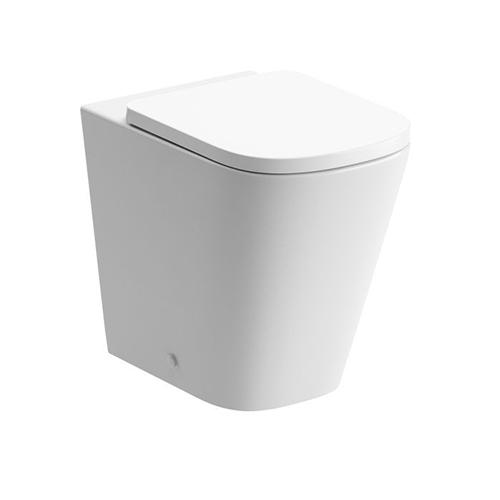 Tilia white back to wall toilet pan with rimless seat