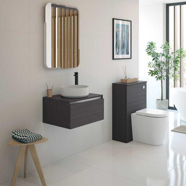 Luxey round ceramic basin and vanity unit