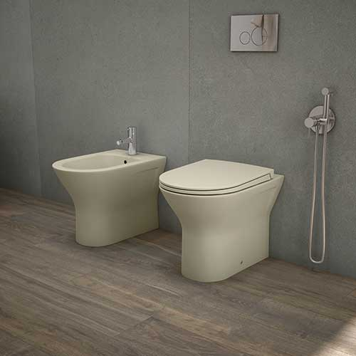 RAK coloured toilet with matching seat and bidet