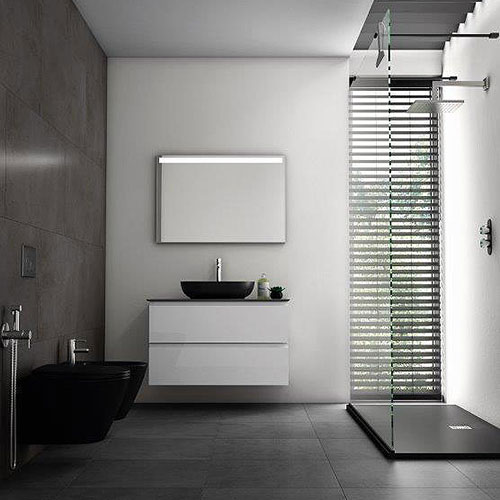 RAK Feeling wall hung WC and bidet in matt black