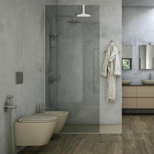 Wall hung WC and bidet in matt cappuccino finish