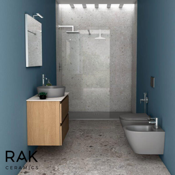 grey basin, WC pan and bidet from RAK Feeling range