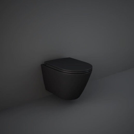 Matt black Feeling fall hung WC pan by RAK