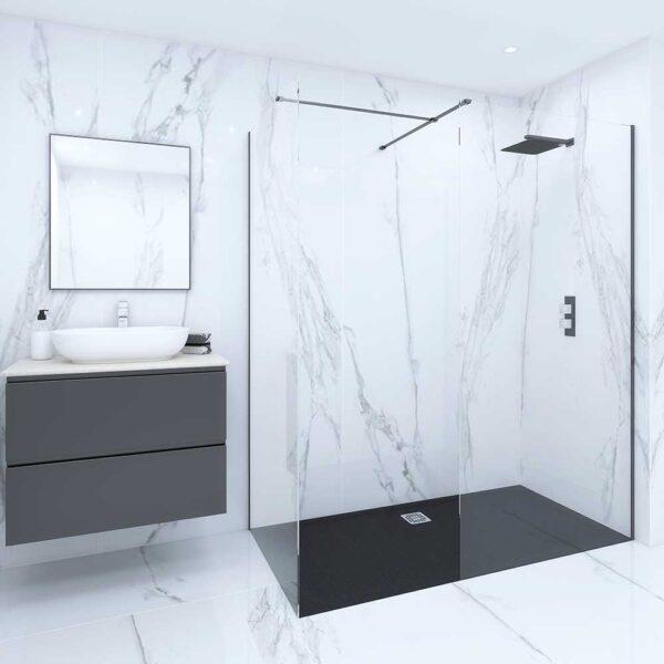 Luxury showroom with black RAK Feeling shower tray