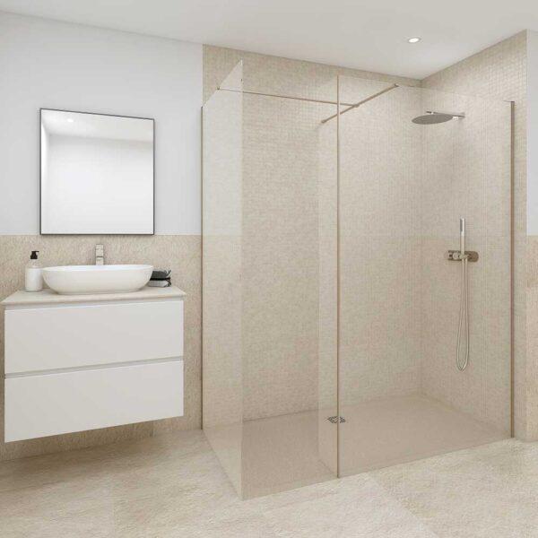 Luxury showroom with cappuccino RAK Feeling shower tray