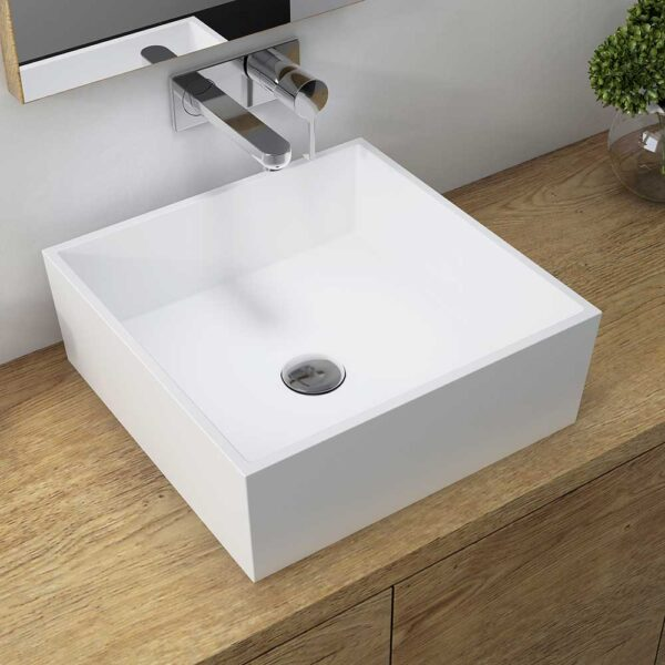 Sabina square white resin basin by Bathrooms to Love