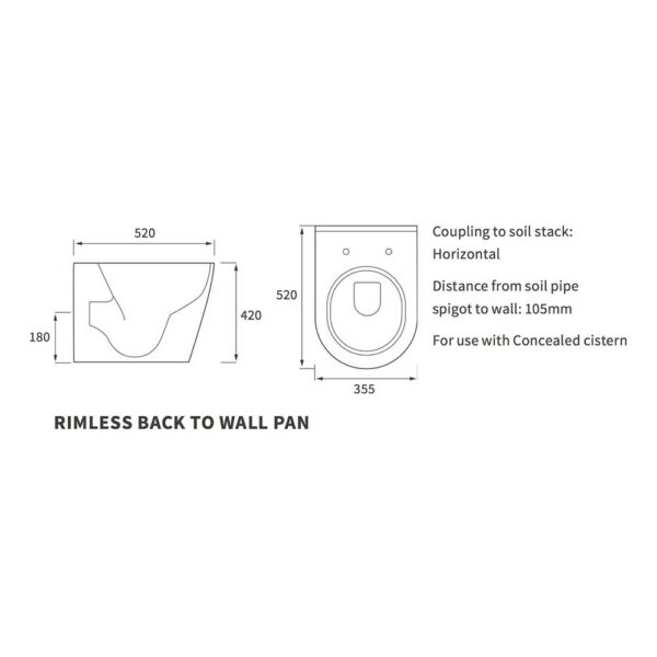 Diagram of Cilantro back to wall WC pan by Bathrooms to Love