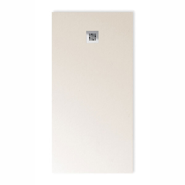 Drench Base designer low profile stone effect shower in Blanc (off white)