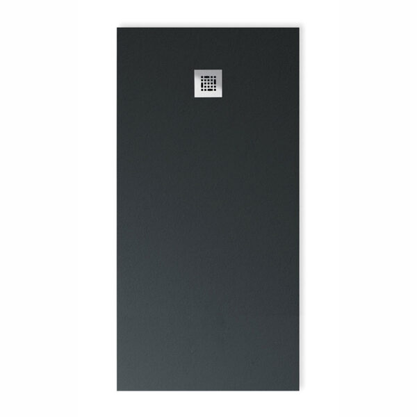 Drench Base designer low profile stone effect shower in Graphite Grey