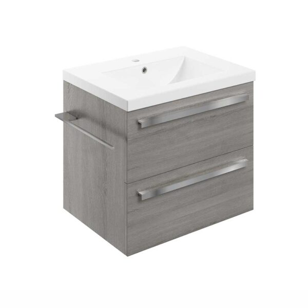 Morina wall hung vanity unit in elm grey wood effect