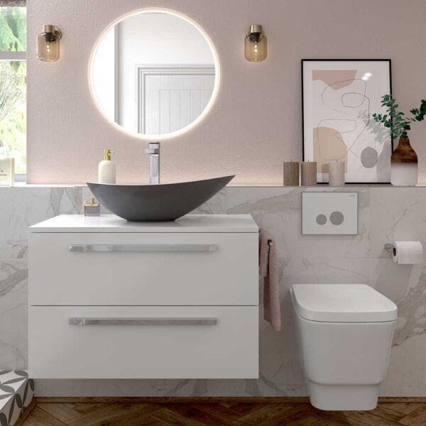 Morina white glass 2 drawer wall hung vanity unit