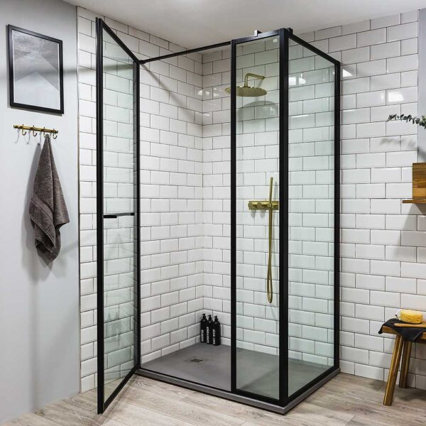 Drench Border black hinged shower door