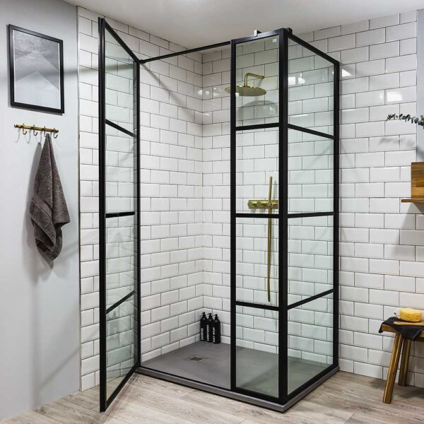 Drench Deco rectangular shower enclosure with hinged door