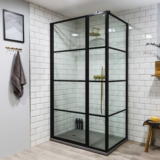 Art Deco inspired black shower enclosure by Drench