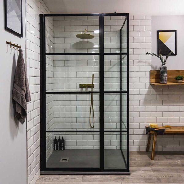 Drench Dec black framed shower door with inline and side panel