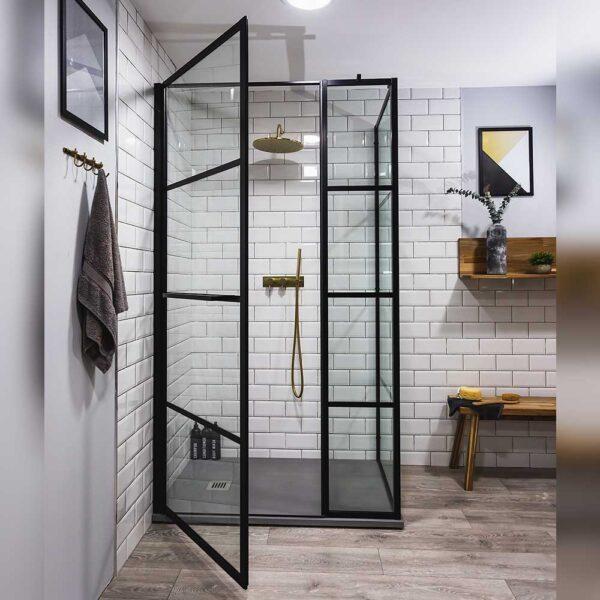 Designer Drench Deco hinged shower door