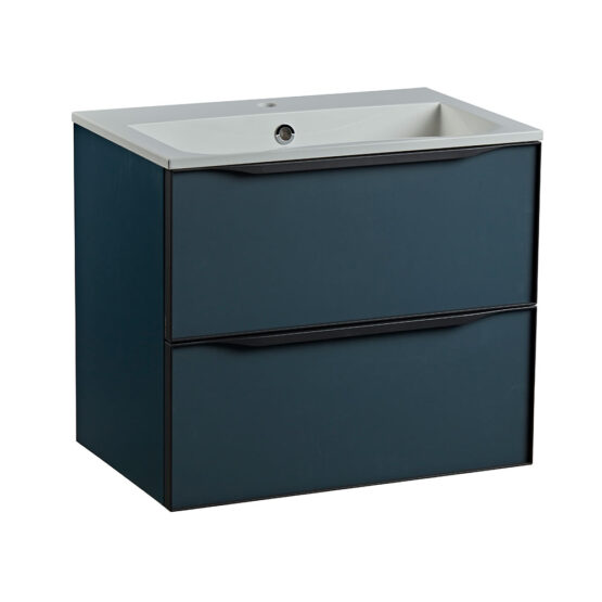 Roper Rhodes 600mm double drawer wall hung bathroom vanity unit in Derwent blue