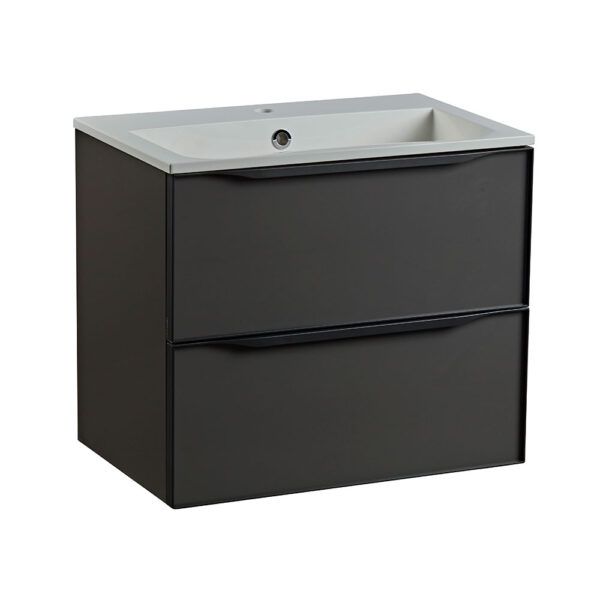 Roper Rhodes 600mm double drawer wall hung bathroom vanity unit in gloss dark clay