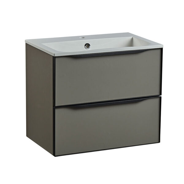 Roper Rhodes 600mm double drawer wall hung bathroom vanity unit in matt light clay
