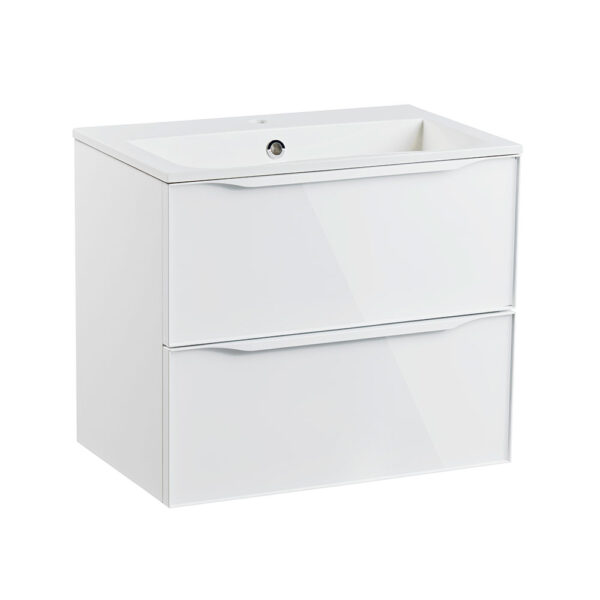 Roper Rhodes 600mm double drawer wall hung bathroom vanity unit in gloss white