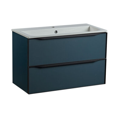 Roper Rhodes 800mm double drawer wall hung bathroom vanity unit in Derwent blue