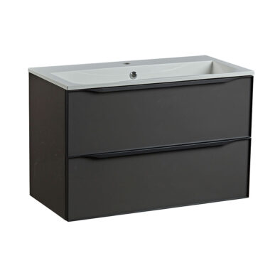 Roper Rhodes 800mm double drawer wall hung bathroom vanity unit in gloss dark clay
