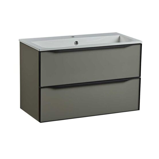 Roper Rhodes 800mm double drawer wall hung bathroom vanity unit in matt light clay
