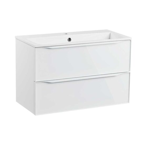 Roper Rhodes 800mm double drawer wall hung bathroom vanity unit in gloss white