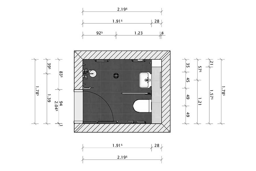 Detailed floor plan of a disability wetroom designed by Room H2o for a customer in Wareham Dorset